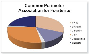 Bulk mineral phase mass percentage and common perimeter associations for forsterite. Data obtained by INCAMineral, processed with GrainAlyzer
