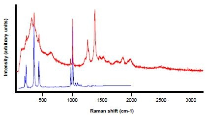 Raman spectrum (in red) collected from the particle shown in Figure 9, zircon reference spectrum in blue