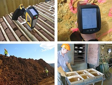 Field photos showing the various use cases for pXRF on a Nickel Laterite Project: On Diamond Drill Core, Face Sampling, Stockpile Sampling Concentrates in the Laboratory