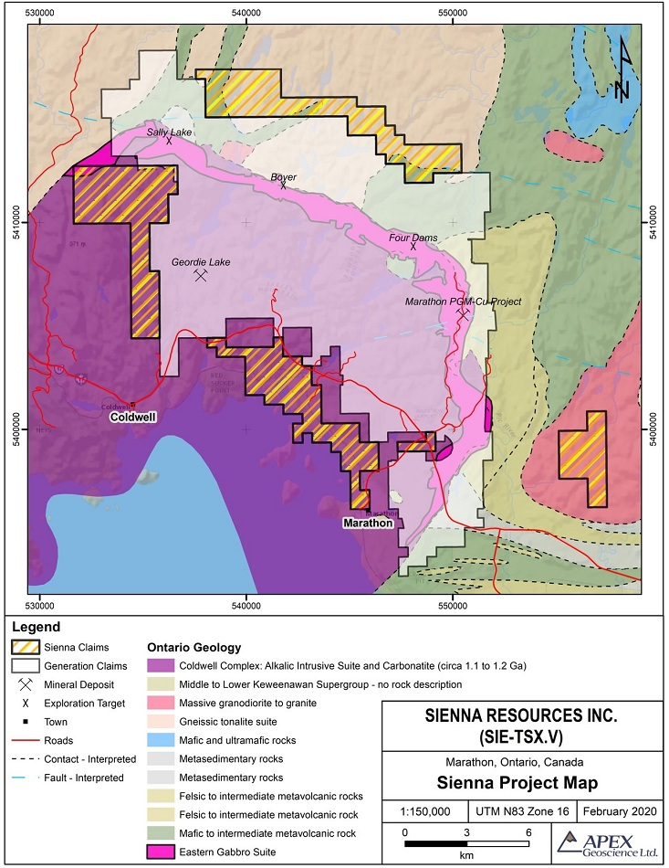Sienna Resources Increases Land Holdings on Marathon North Platinum-Palladium Property