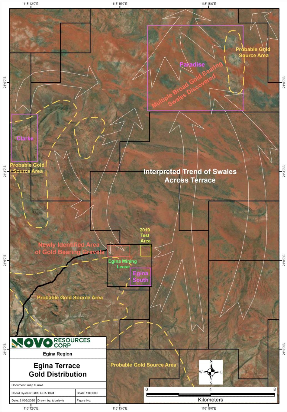 Broad Gold-Bearing Swale Discovered at Novo's Egina Mining Lease