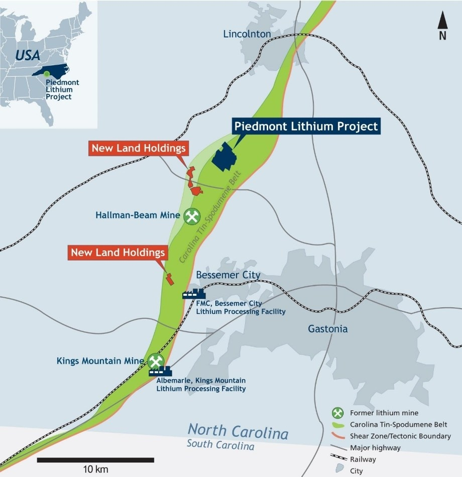 Piedmont Increases Land Position at Tin-Spodumene Belt in North Carolina