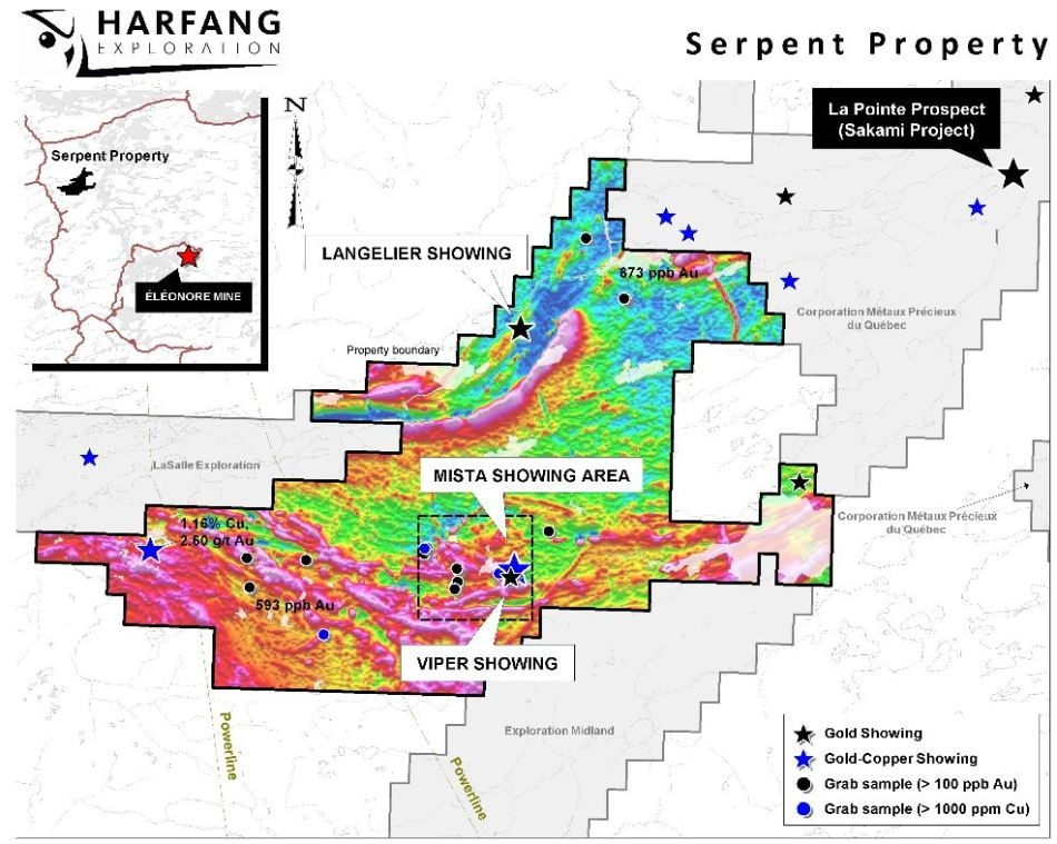 Harfang Offers Updates on its Serpent Property, James Bay, Québec