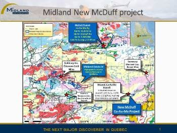 Midland Announces Acquisition of McDuff Project, Quebec